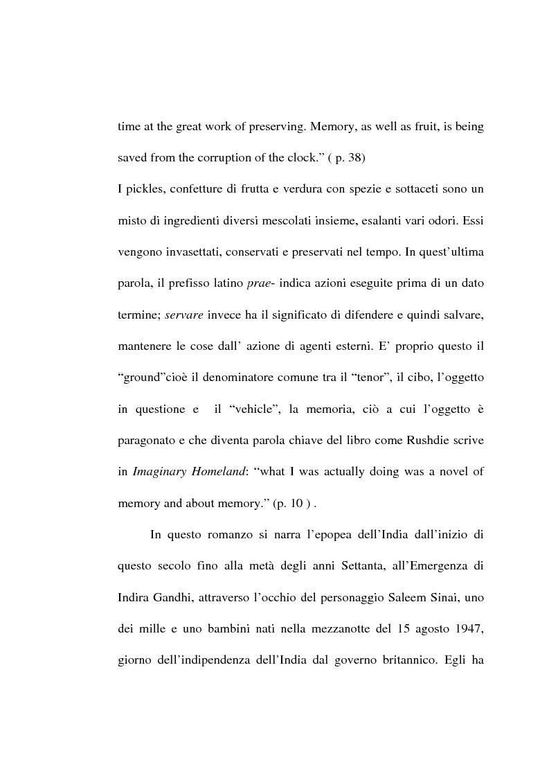 Anteprima della tesi: Le metafore culinarie nella narrativa di Salman Rushdie, Pagina 7