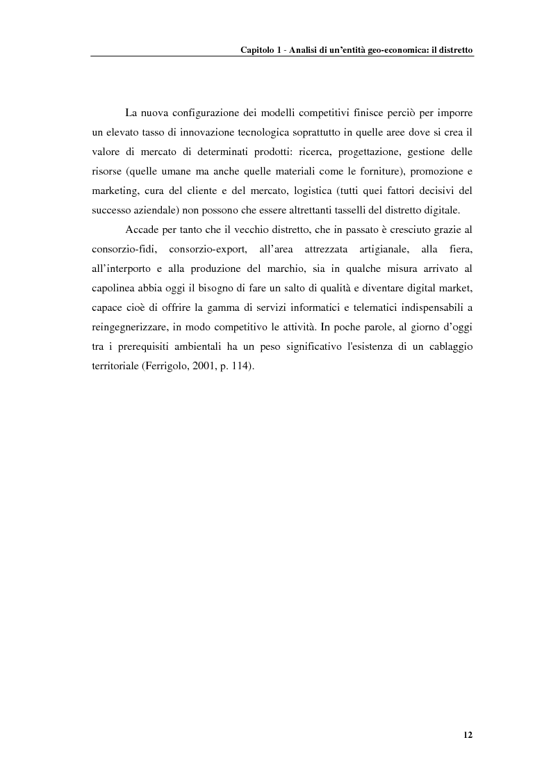 Anteprima della tesi: Distretti produttivi, prerequisiti ambientali e apprendimento. Un'analisi del polo di Barletta, Pagina 12