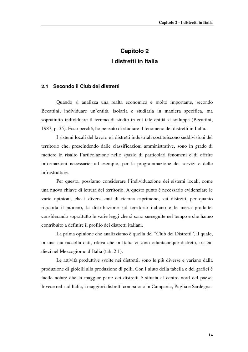 Anteprima della tesi: Distretti produttivi, prerequisiti ambientali e apprendimento. Un'analisi del polo di Barletta, Pagina 14