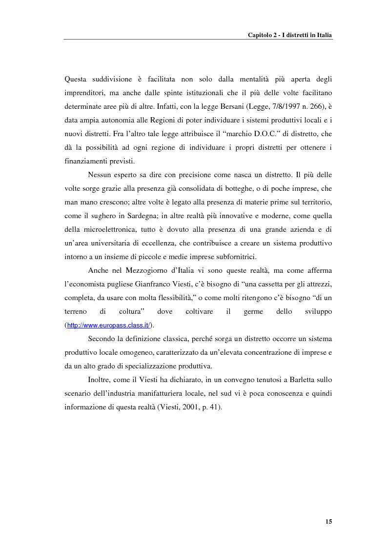 Anteprima della tesi: Distretti produttivi, prerequisiti ambientali e apprendimento. Un'analisi del polo di Barletta, Pagina 15