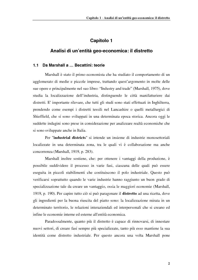 Anteprima della tesi: Distretti produttivi, prerequisiti ambientali e apprendimento. Un'analisi del polo di Barletta, Pagina 2