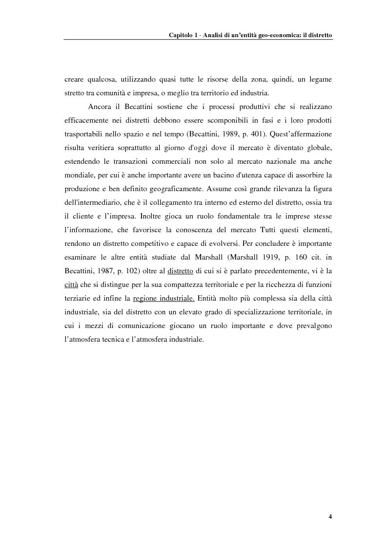 Anteprima della tesi: Distretti produttivi, prerequisiti ambientali e apprendimento. Un'analisi del polo di Barletta, Pagina 4