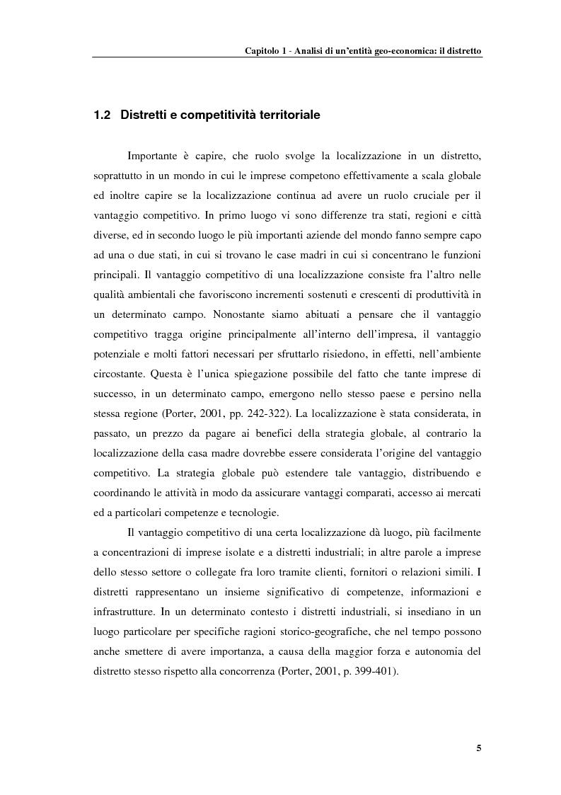 Anteprima della tesi: Distretti produttivi, prerequisiti ambientali e apprendimento. Un'analisi del polo di Barletta, Pagina 5