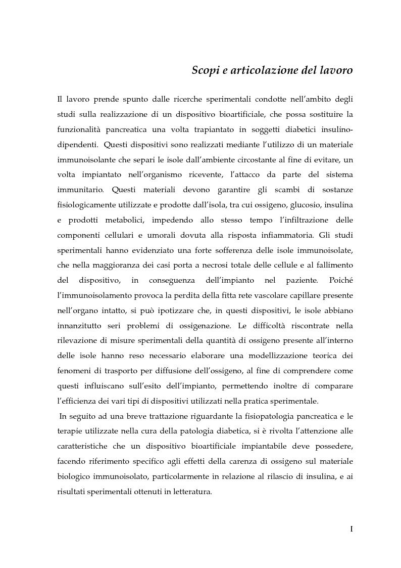 Anteprima della tesi: Modellizzazione della diffusione di ossigeno in dispositivi bioartificiali per il trapianto di isole pancreatiche immunoisolate, Pagina 1