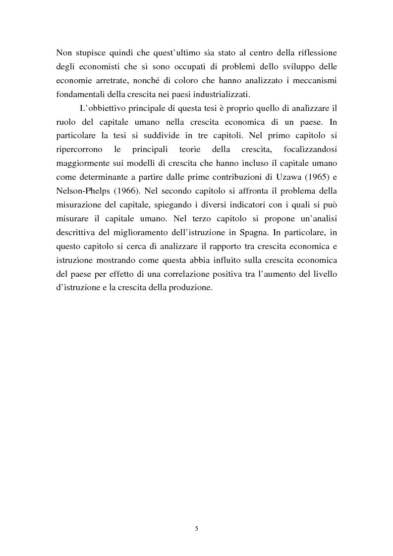 Anteprima della tesi: Capitale umano e crescita economica. Il caso della Spagna nel periodo 1970-2000., Pagina 2
