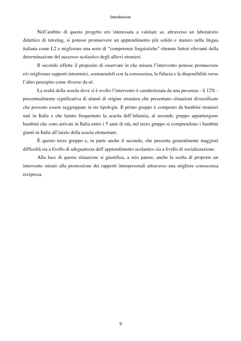 Anteprima della tesi: Scrivere fiabe insieme. Un'esperienza di tutoring tra bambini italiani e stranieri, Pagina 6