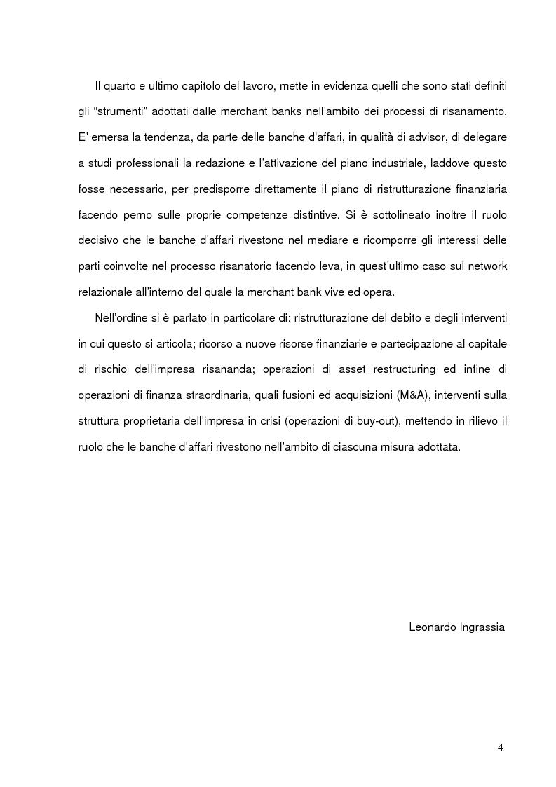 Anteprima della tesi: Il ruolo delle merchant banks nelle crisi d'impresa: processi e strumenti, Pagina 4