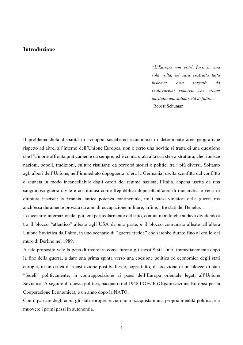 Anteprima della tesi: L'iniziativa INTERREG per favorire la cooperazione transfrontaliera, transnazionale e interregionale, Pagina 1