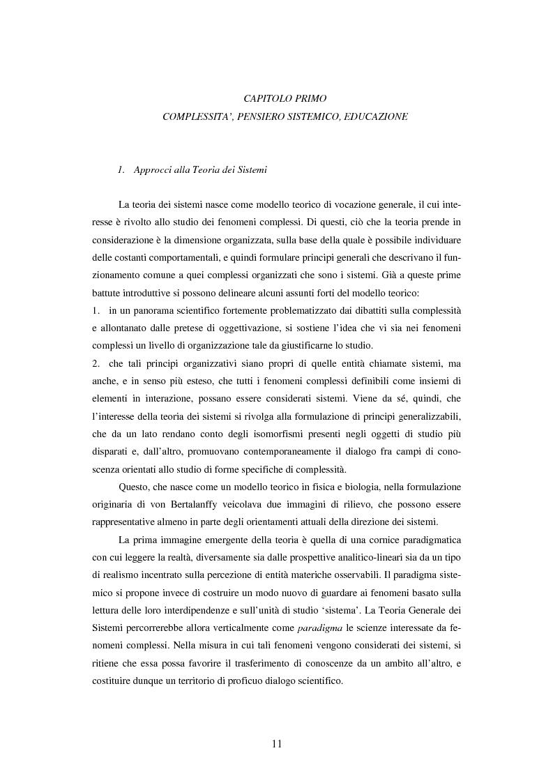 Anteprima della tesi: Teoria dei sistemi e pedagogia della complessità: fondamenti, orientamenti, problemi, Pagina 8