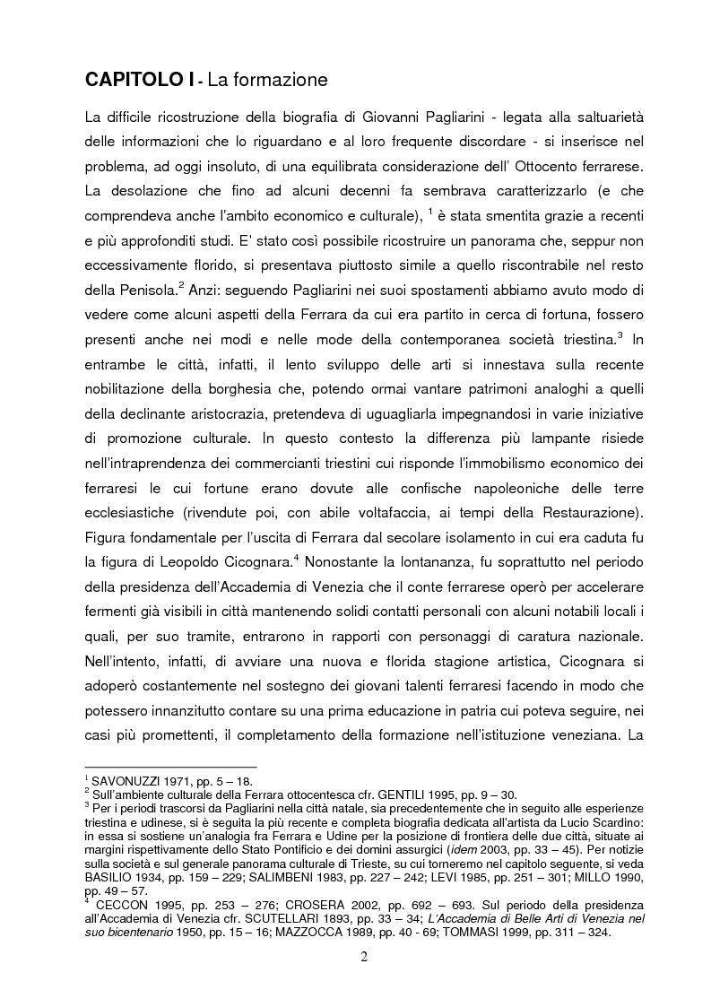 Anteprima della tesi: Un artista ferrarese a Trieste: Giovanni Pagliarini, Pagina 1
