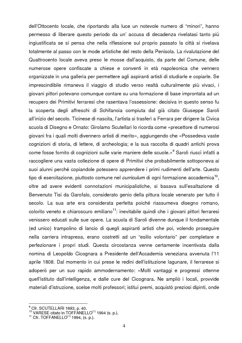 Anteprima della tesi: Un artista ferrarese a Trieste: Giovanni Pagliarini, Pagina 3