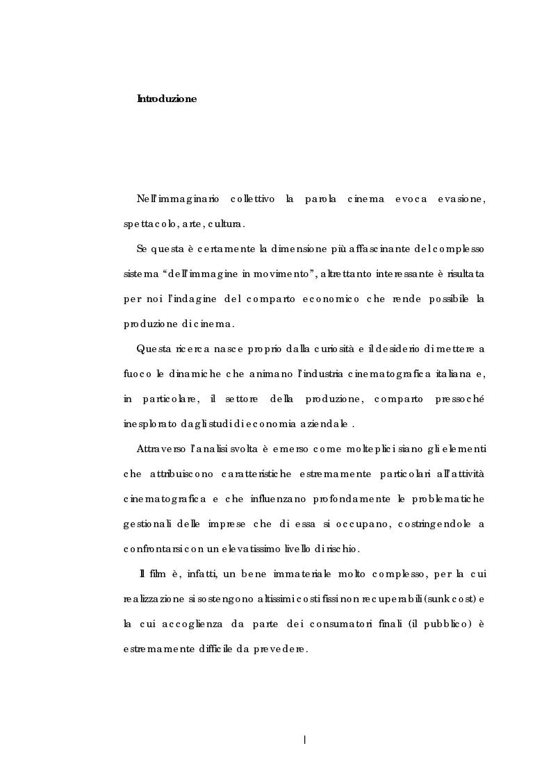 Anteprima della tesi: Problematiche gestionali delle imprese di produzione cinematografica, Pagina 1
