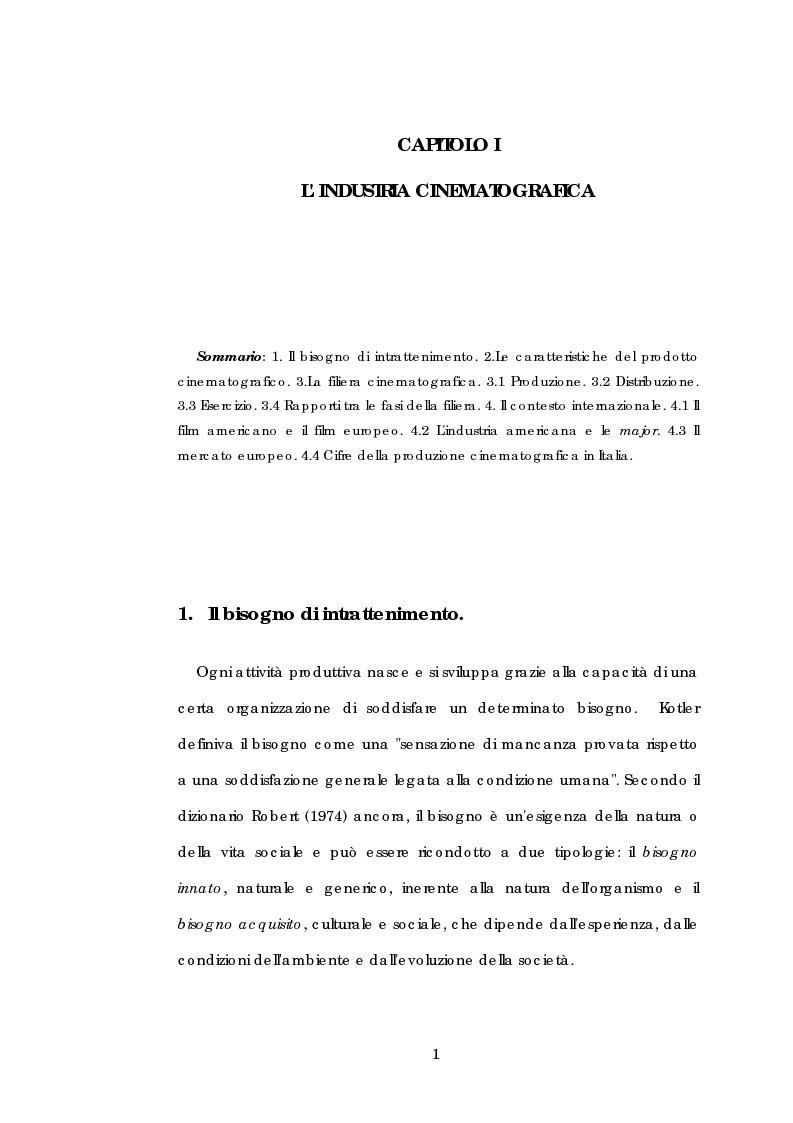 Anteprima della tesi: Problematiche gestionali delle imprese di produzione cinematografica, Pagina 5
