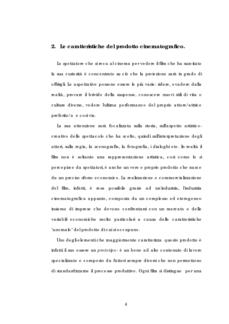 Anteprima della tesi: Problematiche gestionali delle imprese di produzione cinematografica, Pagina 8