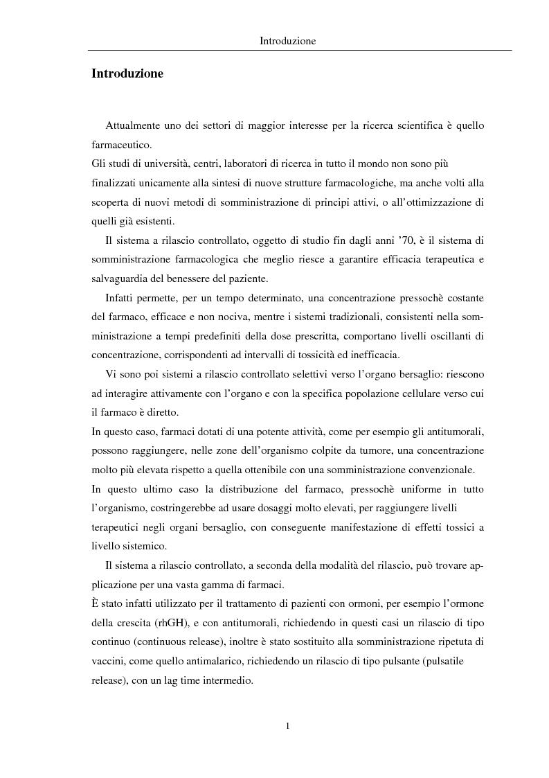 Anteprima della tesi: Fenomeni di trasporto in carrier farmaceutici, Pagina 1