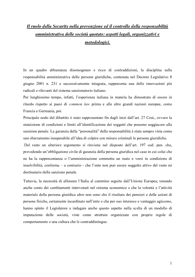 Anteprima della tesi: Il ruolo della Security nella prevenzione ed il controllo della responsabilità amministrativa delle società quotate: aspetti legali, organizzativi e metodologici., Pagina 1