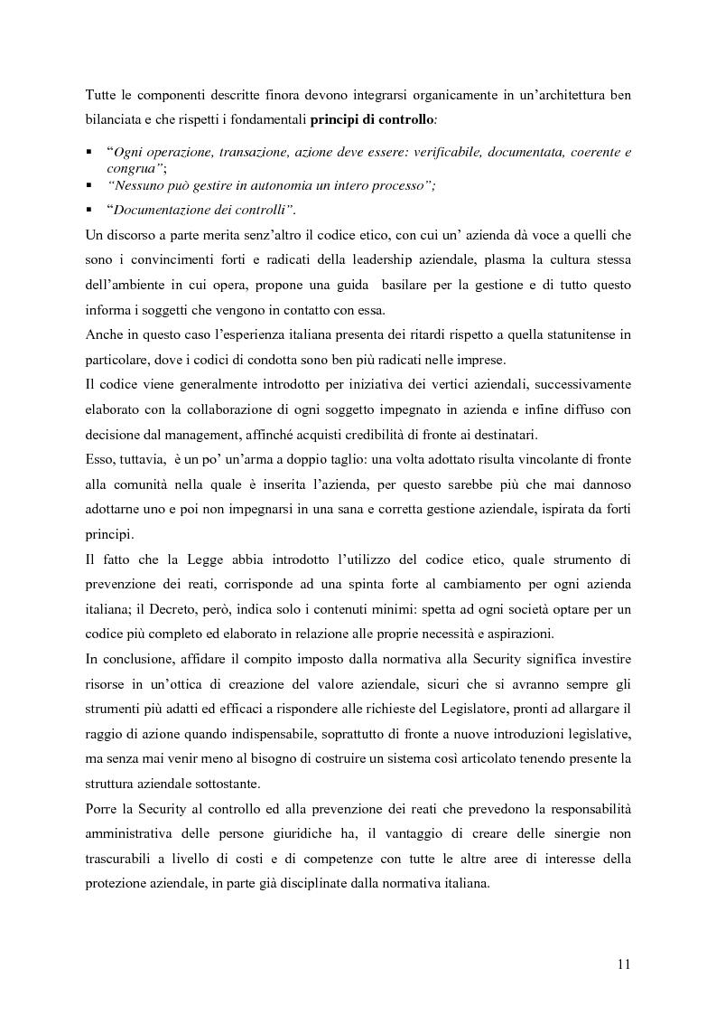 Anteprima della tesi: Il ruolo della Security nella prevenzione ed il controllo della responsabilità amministrativa delle società quotate: aspetti legali, organizzativi e metodologici., Pagina 11