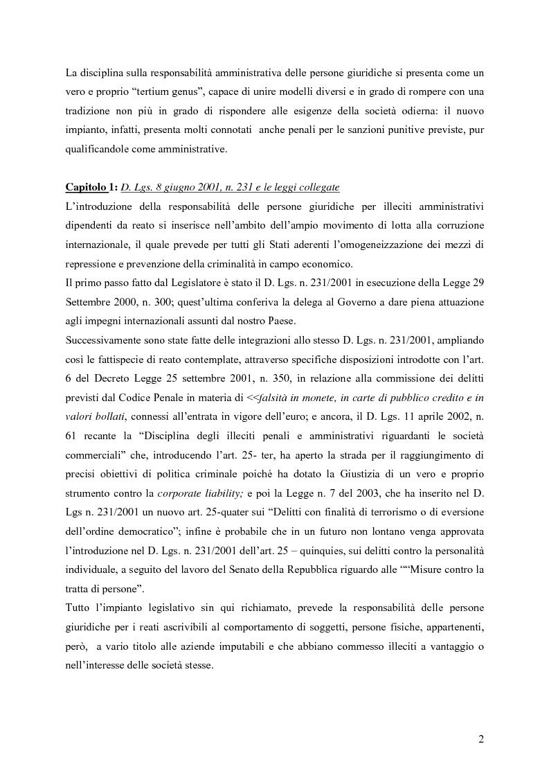 Anteprima della tesi: Il ruolo della Security nella prevenzione ed il controllo della responsabilità amministrativa delle società quotate: aspetti legali, organizzativi e metodologici., Pagina 2