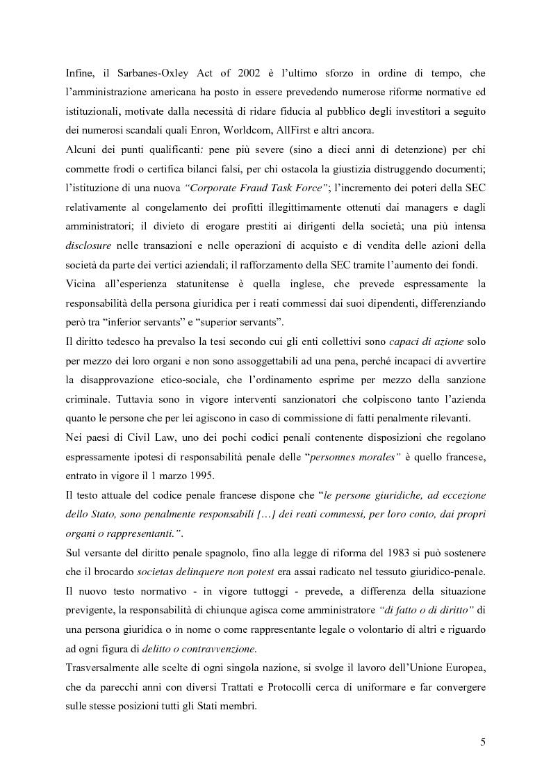 Anteprima della tesi: Il ruolo della Security nella prevenzione ed il controllo della responsabilità amministrativa delle società quotate: aspetti legali, organizzativi e metodologici., Pagina 5