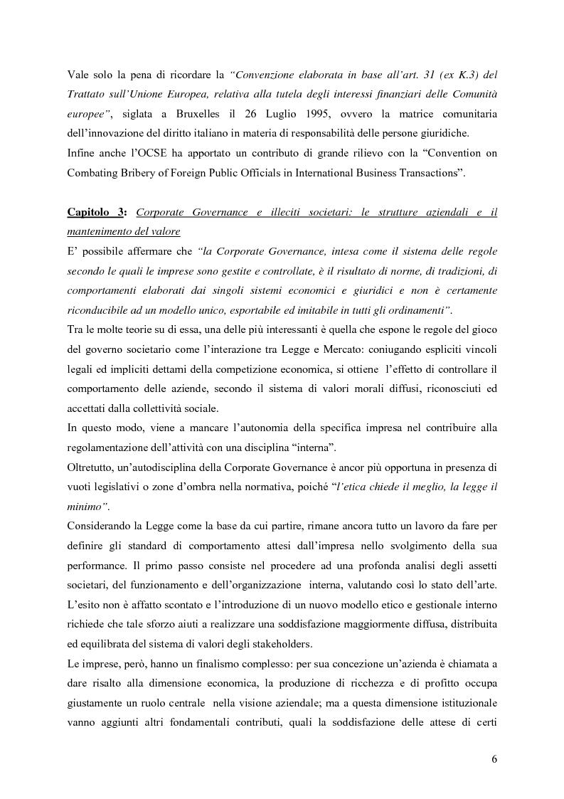 Anteprima della tesi: Il ruolo della Security nella prevenzione ed il controllo della responsabilità amministrativa delle società quotate: aspetti legali, organizzativi e metodologici., Pagina 6