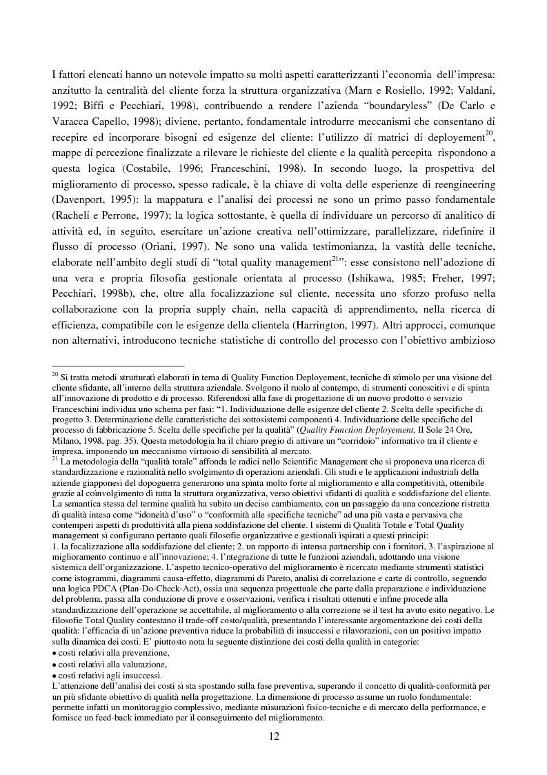 Anteprima della tesi: Cost management e orientamento ai processi.Analisi di un caso aziendale, Pagina 11