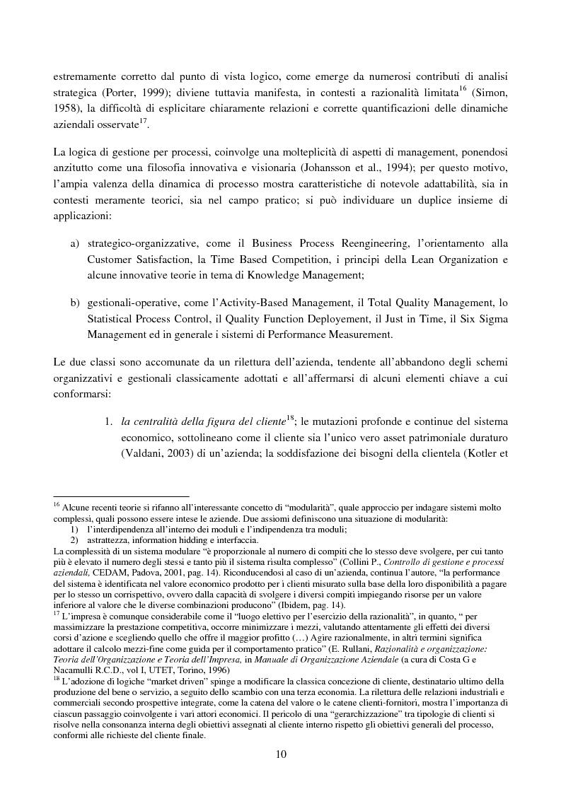 Anteprima della tesi: Cost management e orientamento ai processi.Analisi di un caso aziendale, Pagina 9