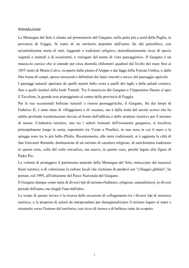 Anteprima della tesi: La Montagna del Sole: proposte per la destagionalizzazione del turismo e la valorizzazione del promontorio del Gargano, Pagina 1