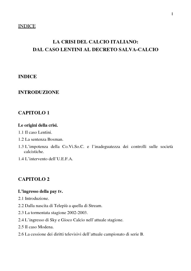 Indice della tesi: La crisi del calcio italiano: dal caso Lentini al decreto salva-calcio, Pagina 1