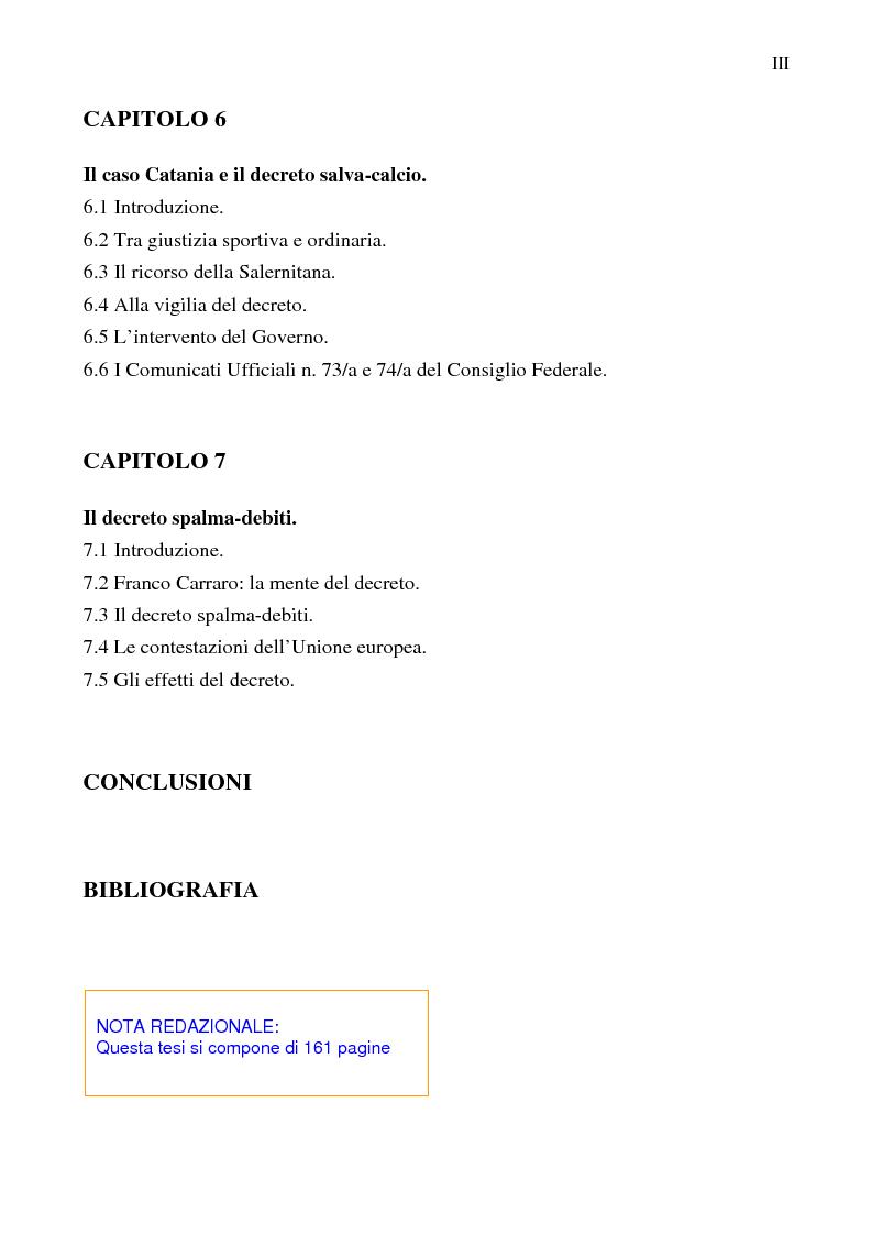 Indice della tesi: La crisi del calcio italiano: dal caso Lentini al decreto salva-calcio, Pagina 3