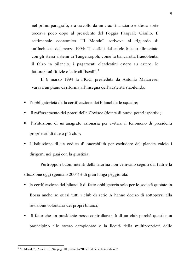 Anteprima della tesi: La crisi del calcio italiano: dal caso Lentini al decreto salva-calcio, Pagina 13