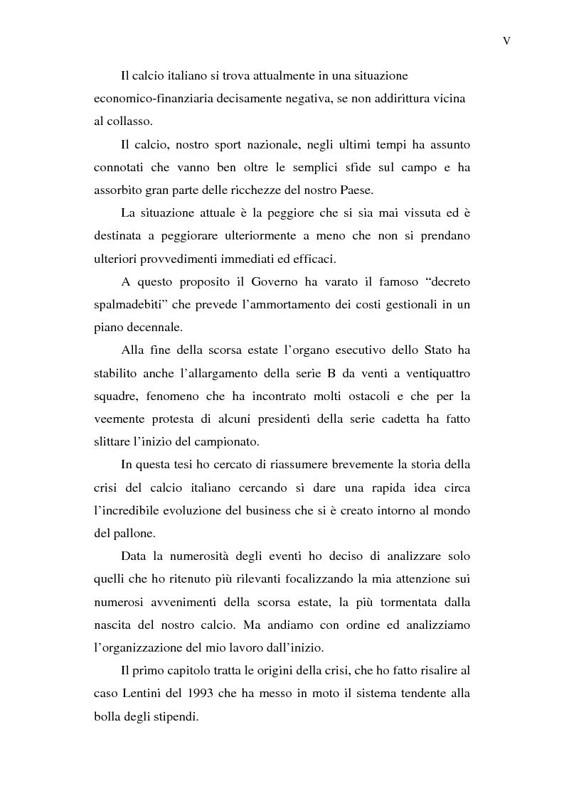 Anteprima della tesi: La crisi del calcio italiano: dal caso Lentini al decreto salva-calcio, Pagina 2