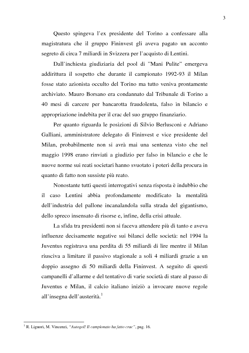 Anteprima della tesi: La crisi del calcio italiano: dal caso Lentini al decreto salva-calcio, Pagina 7