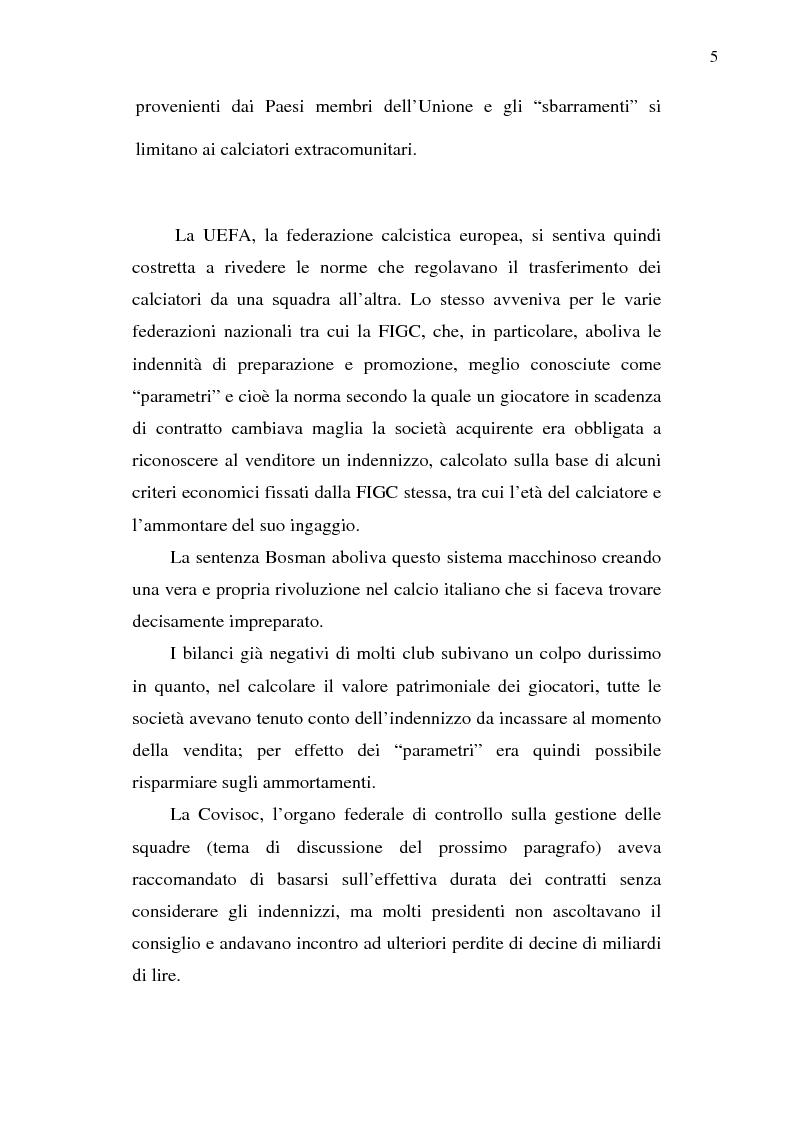 Anteprima della tesi: La crisi del calcio italiano: dal caso Lentini al decreto salva-calcio, Pagina 9