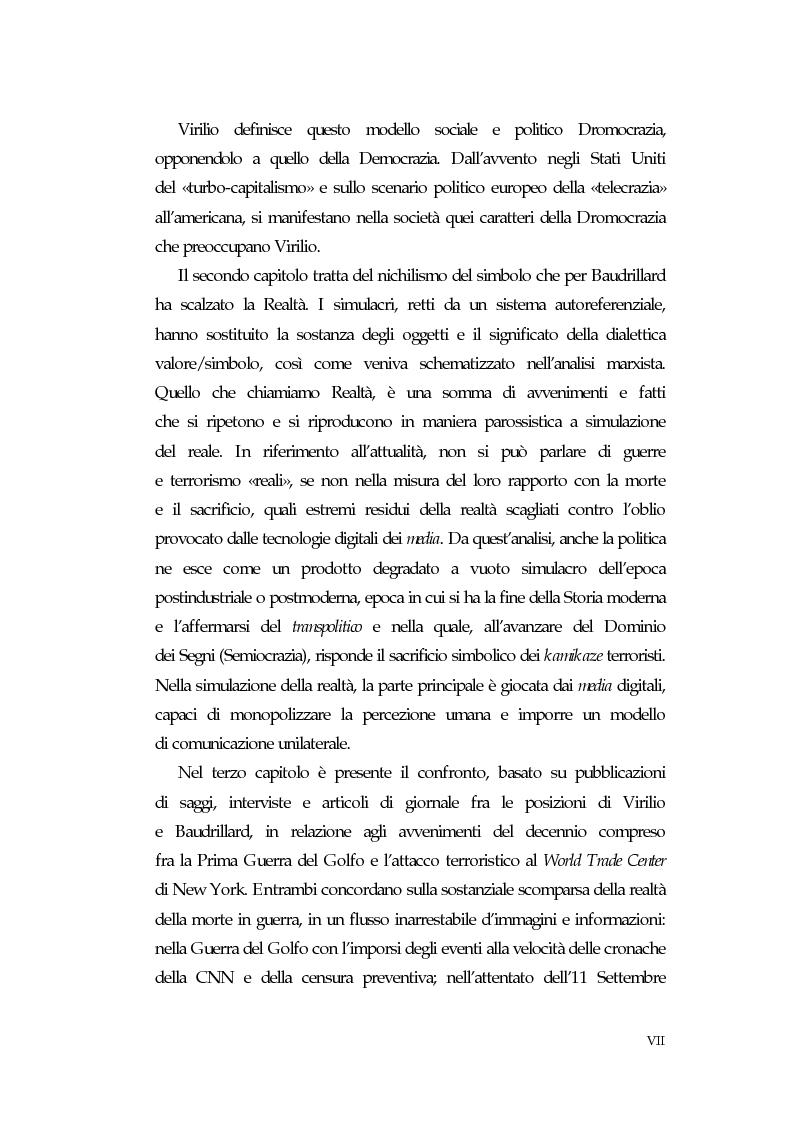 Anteprima della tesi: Dromocrazia e semiocrazia - Una lettura della società postmoderna in Virilio e Baudrillard, Pagina 2