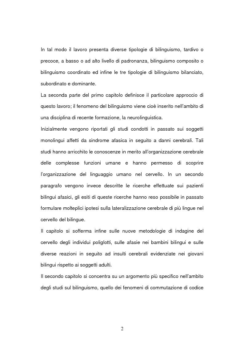 Anteprima della tesi: Il code switching: aspetti neurolinguistici, Pagina 2