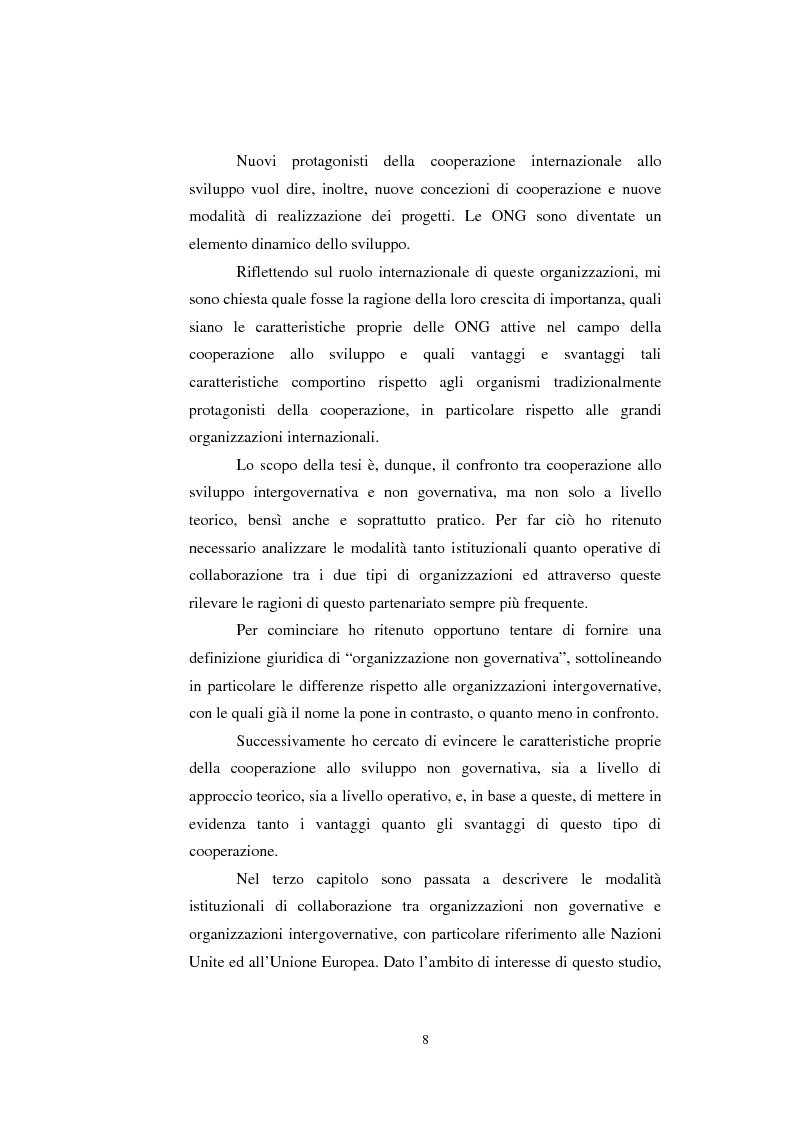 Anteprima della tesi: Le organizzazioni non governative, le organizzazioni internazionali e la cooperazione allo sviluppo, Pagina 2