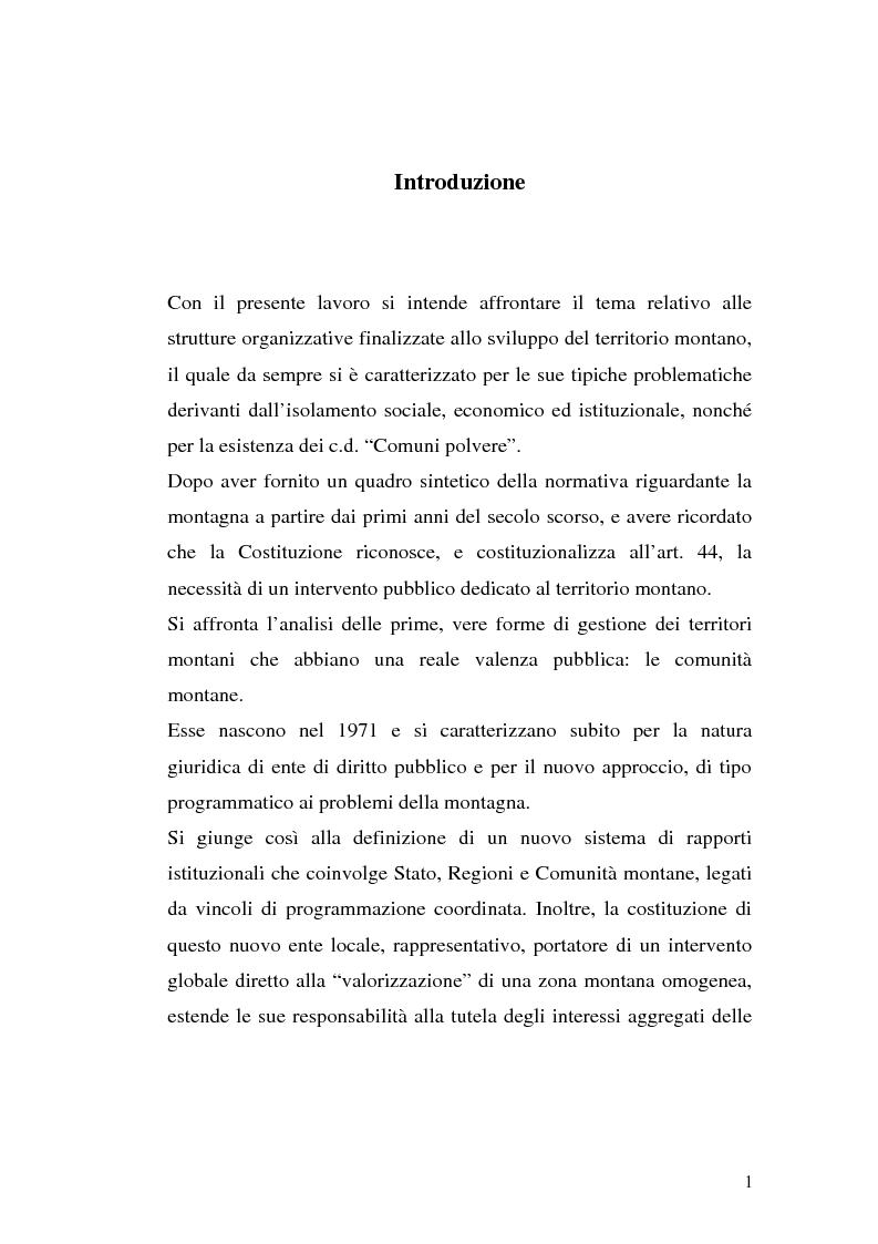 Anteprima della tesi: Le comunità montane: esperienze e prospettive, Pagina 1
