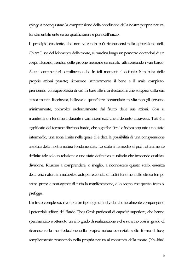 Anteprima della tesi: Il Bardo Thos Grol. Morte, trasmigrazione e rinascita, Pagina 3