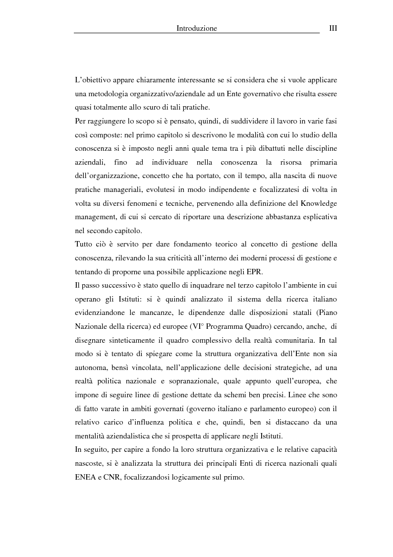 Anteprima della tesi: I sistemi informativi a supporto della gestione della conoscenza negli enti di ricerca: il caso ENEA, Pagina 3