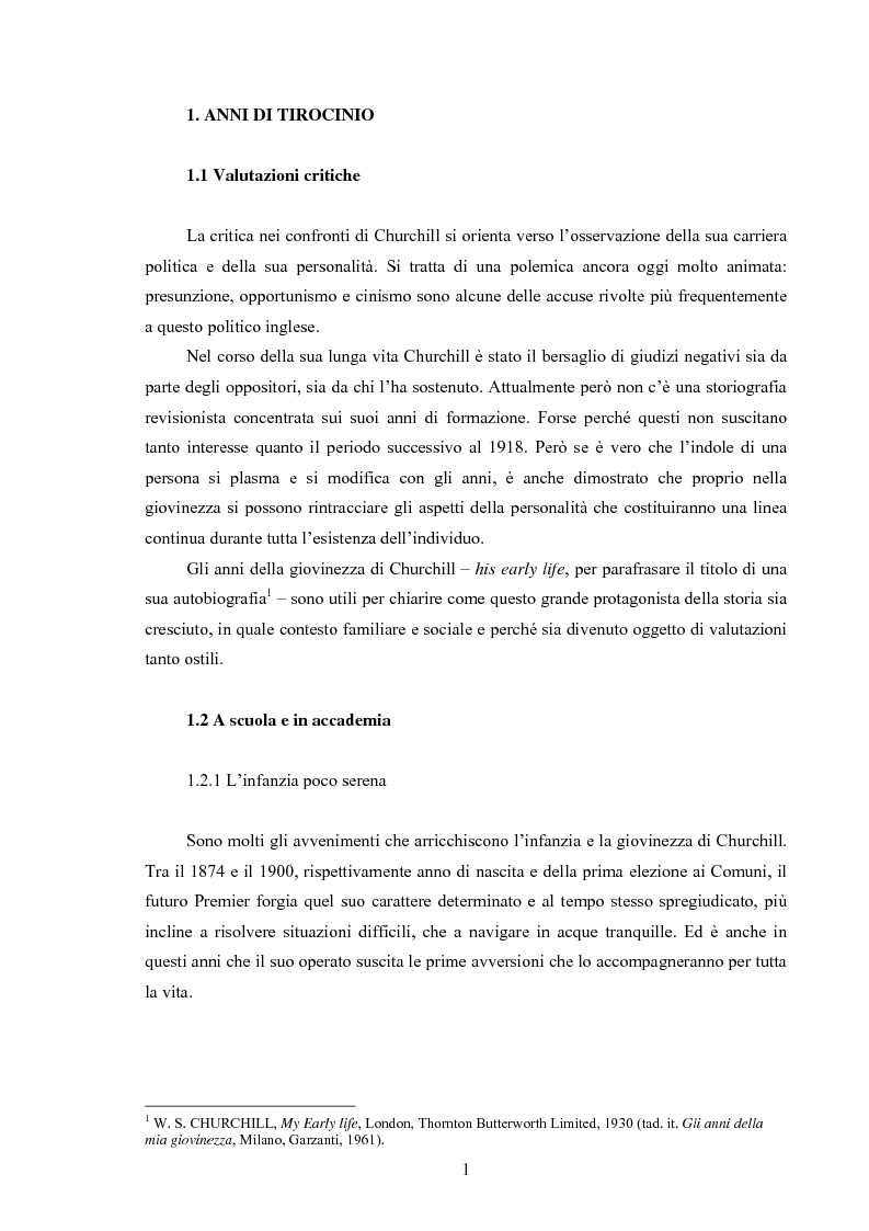 Anteprima della tesi: Winston S. Churchill: ritratto in chiaroscuro. La carriera politica attraverso la storiografia critica, Pagina 4