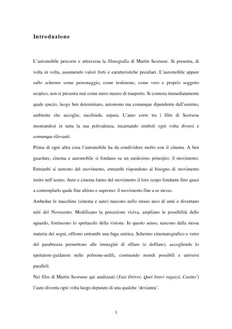 Anteprima della tesi: L'automobile nel cinema di Martin Scorsese, Pagina 1