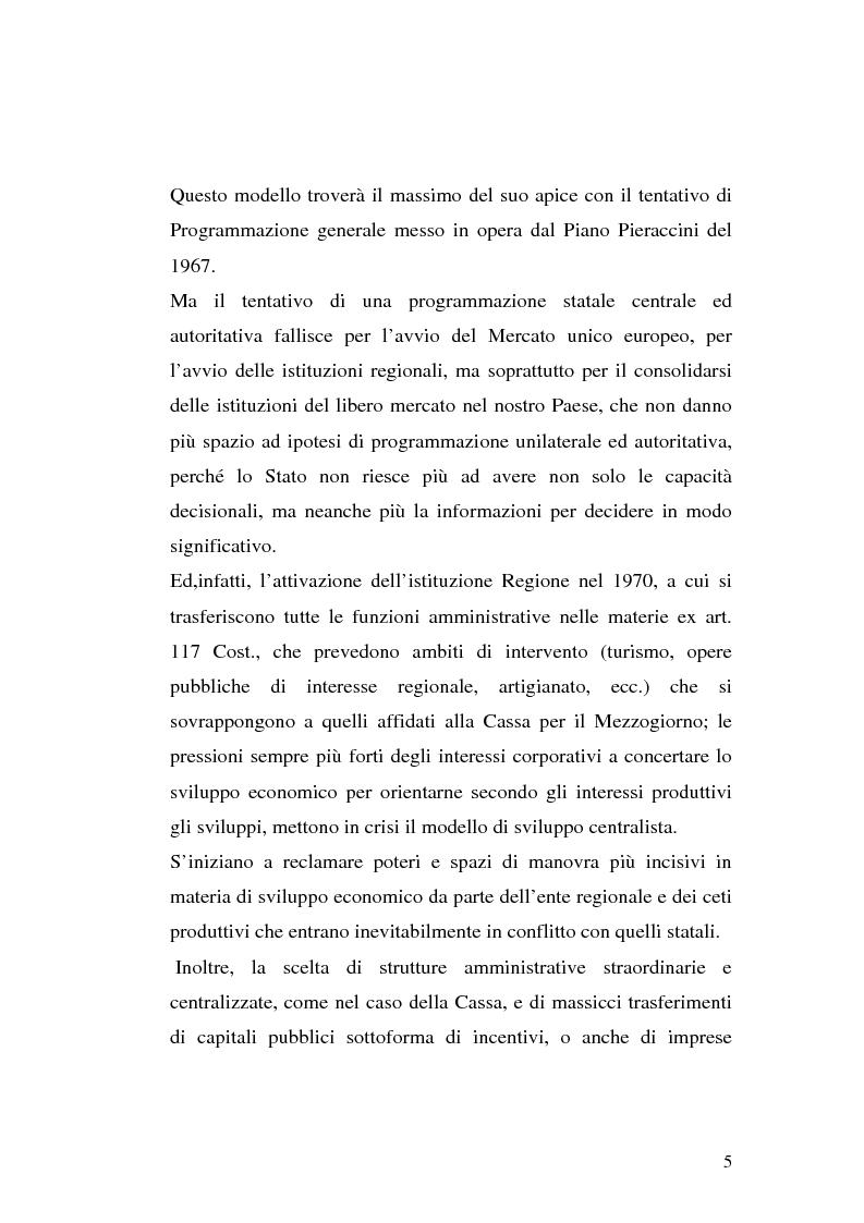 Anteprima della tesi: I procedimenti e gli istituti finalizzati allo sviluppo economico: i patti territoriali e i PIT, Pagina 5