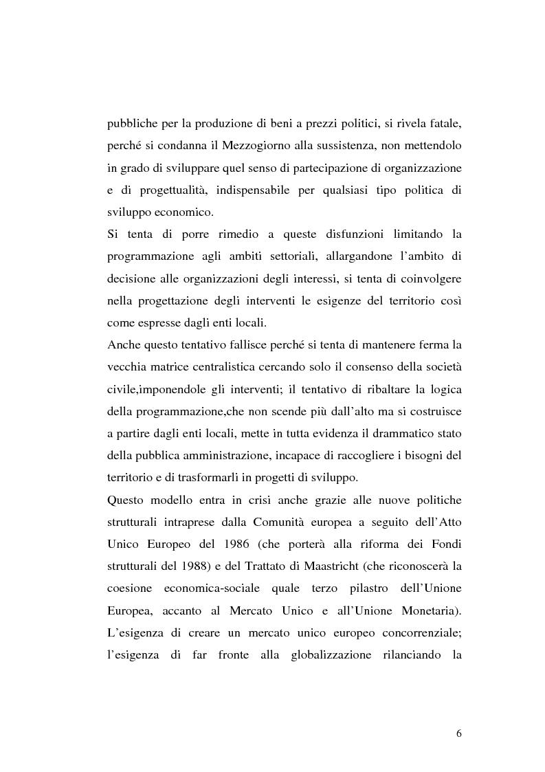 Anteprima della tesi: I procedimenti e gli istituti finalizzati allo sviluppo economico: i patti territoriali e i PIT, Pagina 6