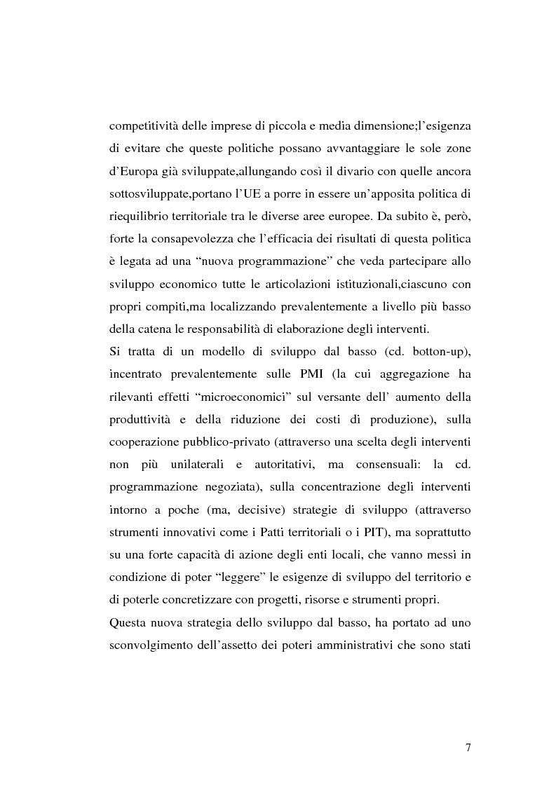 Anteprima della tesi: I procedimenti e gli istituti finalizzati allo sviluppo economico: i patti territoriali e i PIT, Pagina 7