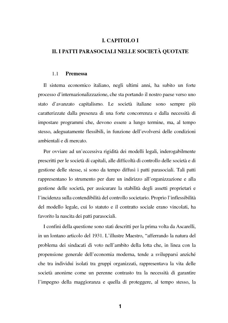 Anteprima della tesi: I Patti parasociali nel diritto positivo vigente, Pagina 1