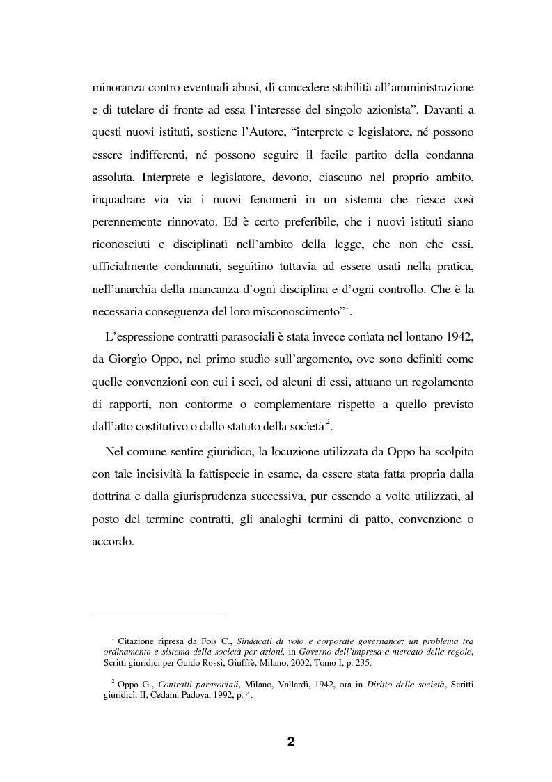 Anteprima della tesi: I Patti parasociali nel diritto positivo vigente, Pagina 2
