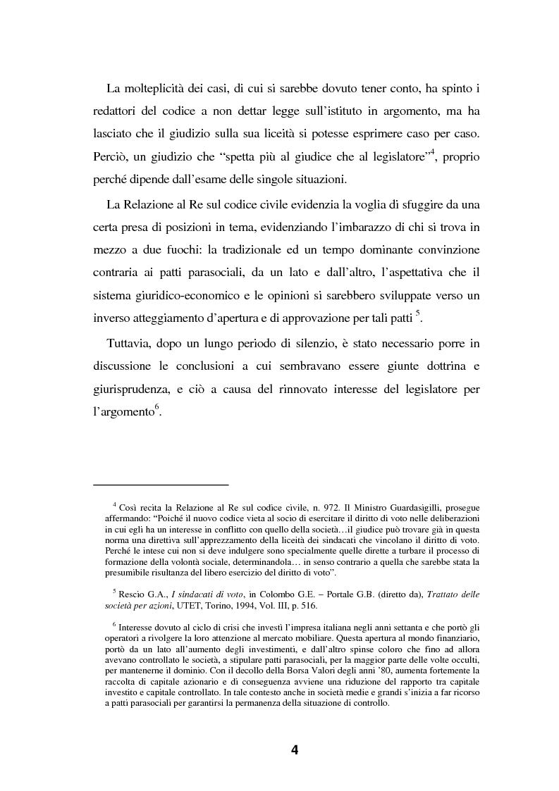 Anteprima della tesi: I Patti parasociali nel diritto positivo vigente, Pagina 4