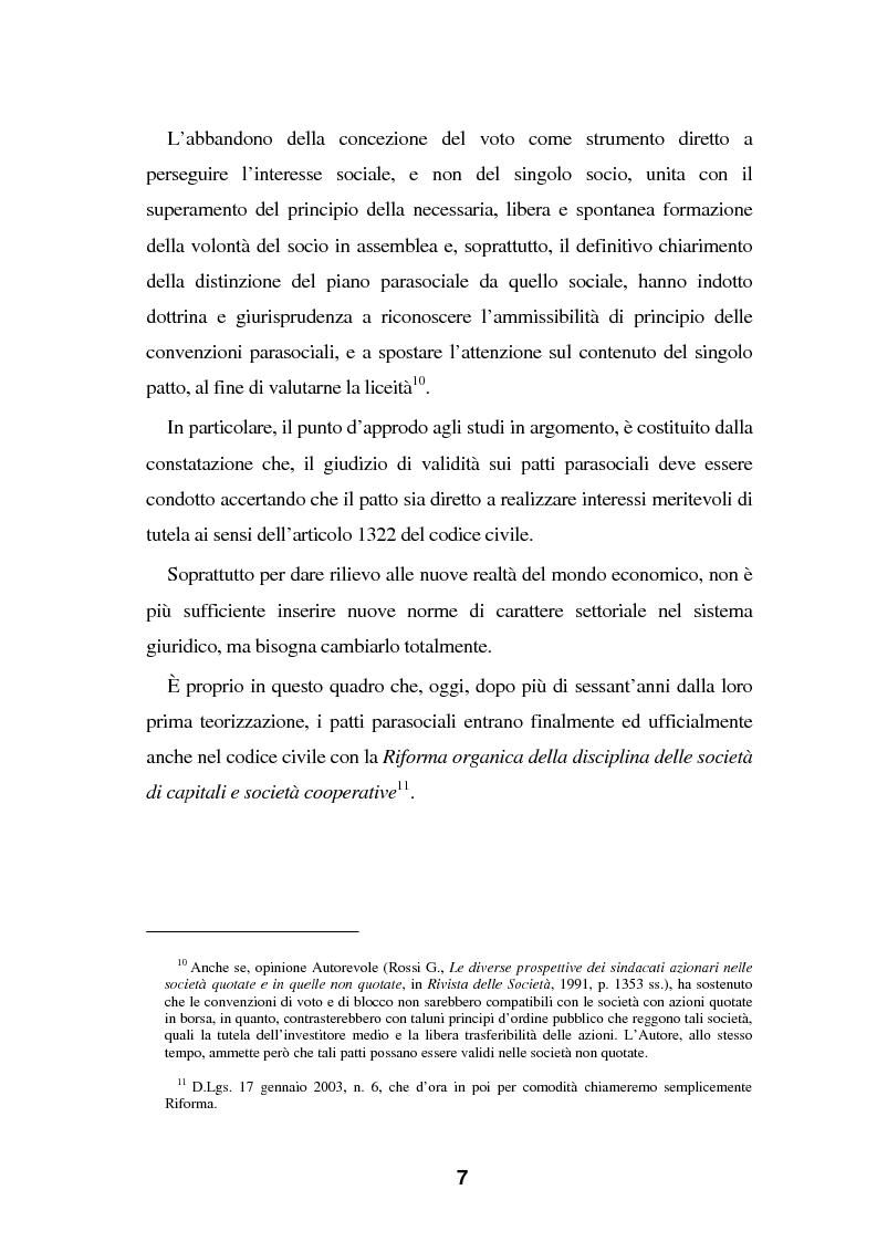 Anteprima della tesi: I Patti parasociali nel diritto positivo vigente, Pagina 7