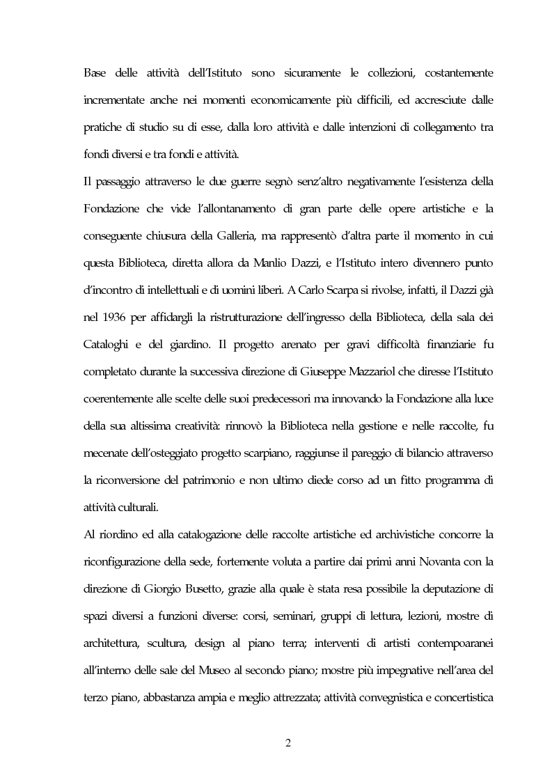 Anteprima della tesi: Il Museo Querini Stampalia da galleria patrizia a macchina della memoria. Appunti per una storia, 1869- 2004, Pagina 2