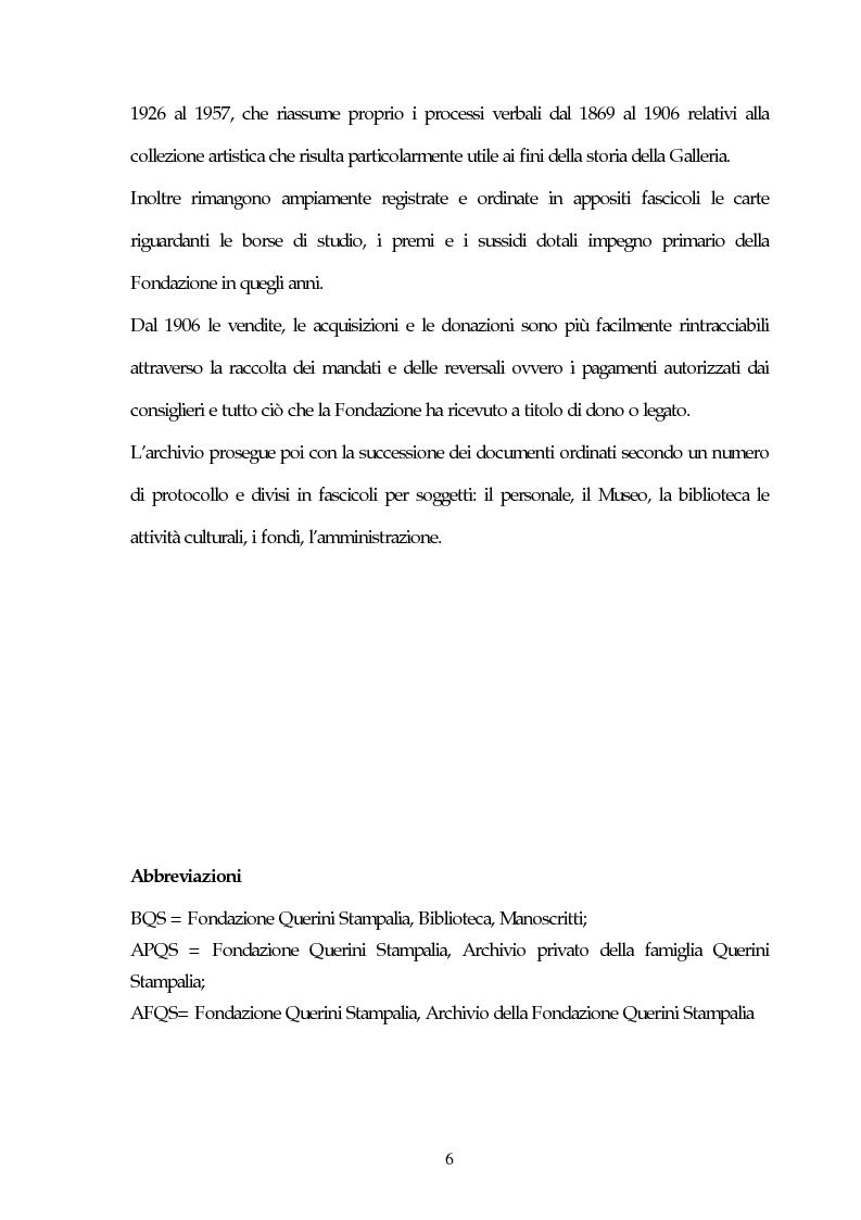 Anteprima della tesi: Il Museo Querini Stampalia da galleria patrizia a macchina della memoria. Appunti per una storia, 1869- 2004, Pagina 6
